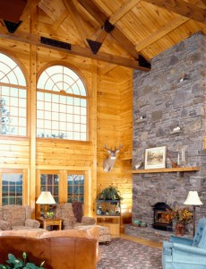 national log home month, log home interior view, timberhaven log homes