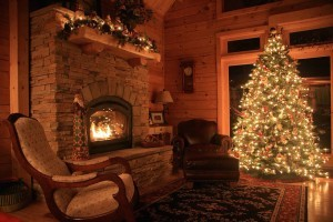 christmas wish, roaring fire in holiday themed log home, log homes, log cabins, log cabin homes, Merry Christmas, stone fireplace