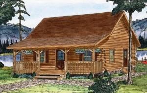 watercolor rendering of log cabin home, Juniata log home, log home package, juniata log cabin design, small log homes, log home design, log home plans, spring feature home, Timberhaven