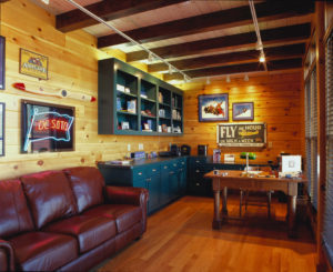 log home office with sofa, custom features, log home living, log homes, office, work from home, Timberhaven