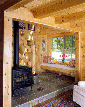 Window Seat In A Log Home