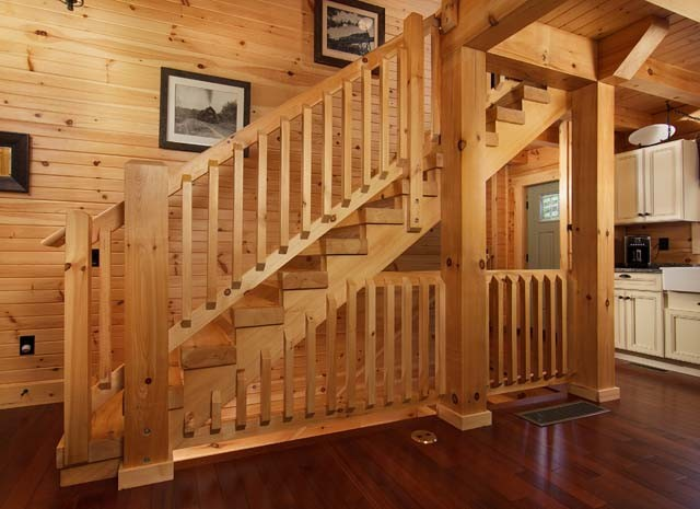 White Pine Heavy Timber Stairs