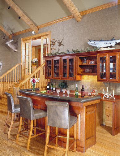 Wet Bar In Custom Log Home Design