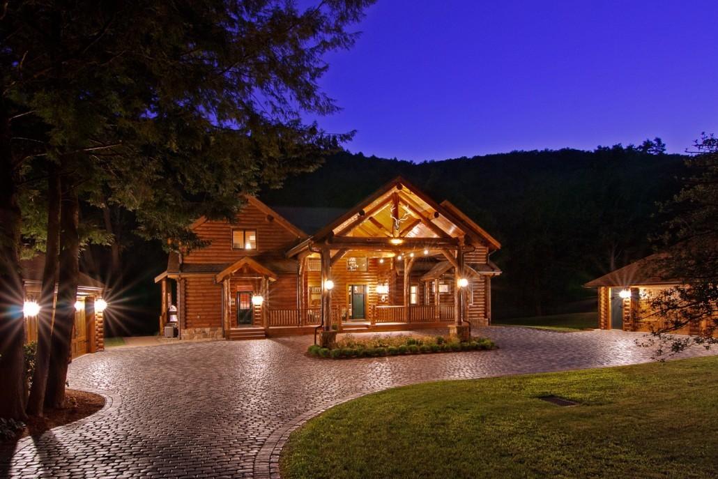 Lodge-Like Log Portico