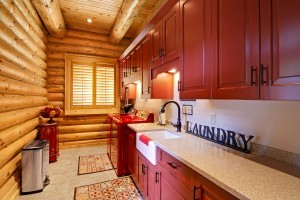 Fully Loaded Laundry Room, log home laundry room, laundry room, custom features, Timberhaven, log homes, log home living, log cabin homes