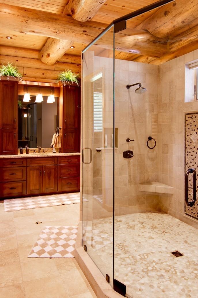 Expertly Designed Log Home Bath