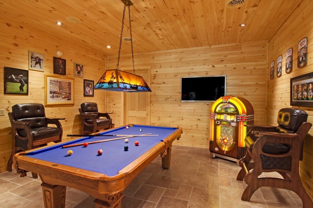 Billiard Room in Custom Log Home