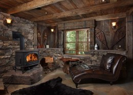 Reclaimed wood and stone elements