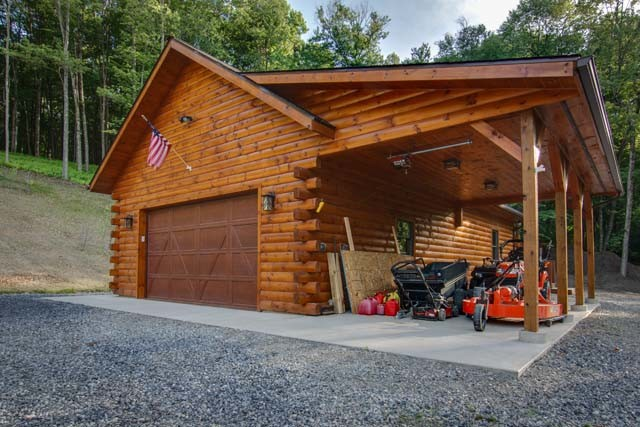 Log Garage with Lean-To