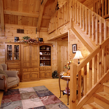 Timberhaven Log Home Stairs in Great Room