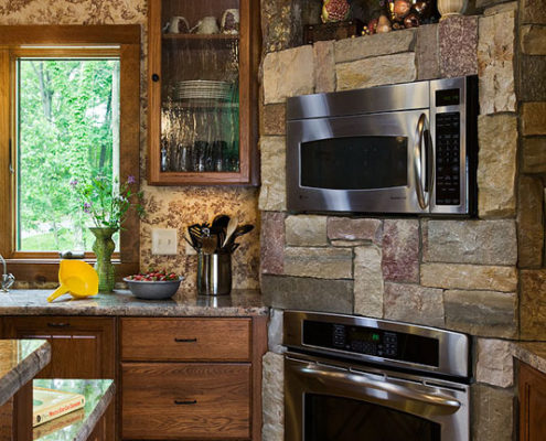Modern Appliances Fit In Log Home