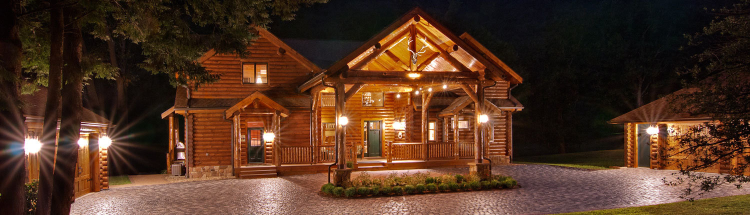 Exterior Log Home at Twilight