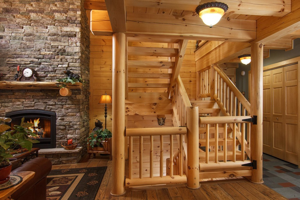 Exposed Heavy Timber Stairway
