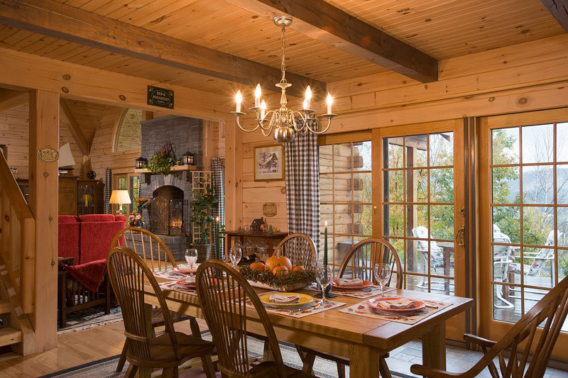 Open Floor Plan Log HOme