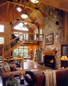 River Stone Fireplace - Custom Design