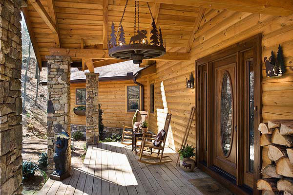 Ranch Themed Log Home Porch