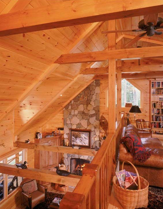 Log Home Loft Serves as Library