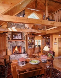 dining and great rooms in a log home, engineered logs, Timberhaven, log home living, timber frame home living, log home lifestyle, timber frame home lifestyle, log home living lifestyle