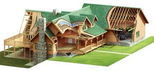 Finish Materials Log Home Package cutaway, cabin fever special, complete materials package, Timberhaven, log home package, log cabin package