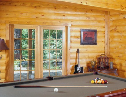 Pool Table And Guitar - Log Home