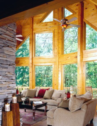 Prow Front Wall of Glass - Log Home