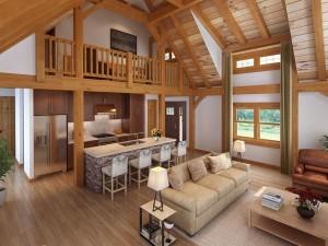 living area of timber frame home, timber frame rendering, timber frame design, craftsman timber frame, Timberhaven, hybrid home, timber homes, engineered framework, handcrafted homes