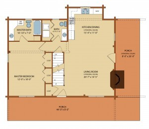 clear creek first level floor plan, clear creek log cabin, clear creek design, log homes, small log cabins, timber homes, Timberhaven