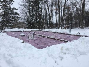 sub floor in the snow, built in the winter, winter build, building a log home in the winter, Timberhaven, log homes, timber frame homes, under construction