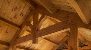 Timber Frame Truss with Pegs, timber frame truss assembly, tongue & groove ceiling, incorporating wood materials