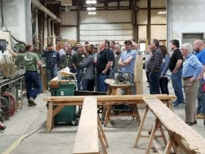 group of people watching a demonstration, successful planning seminar, log home planning seminar, timber frame home planning seminar, planning and construction seminar, Timberhaven seminar, educational events