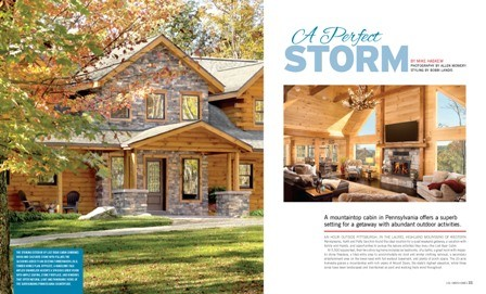 log and stone home with front porch, log cabin homes magazine, log cabin homes, log cabins, log homes, timber homes, hybrid homes, Timberhaven, dream homes