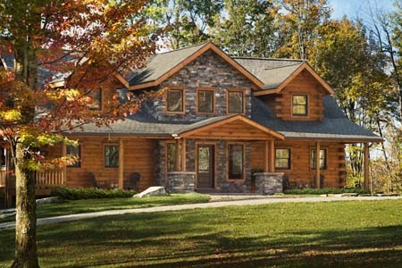 Sacchini Custom Log Cabin with Stone Accents