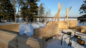 building a log home in the winter