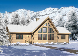 snow covered log homes, Lakeside II, winter quarterly feature home, special promotion, log homes, log cabin homes, log cabins, Timberhaven