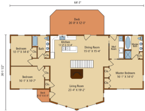 first level floor plan, Lakeside II, log home designs, log home floor plan, prow front, log homes, log cabins, log cabin homes, Timberhaven