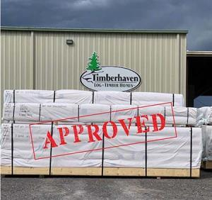 USDA approval on materials, log home package, international distribution, international delivery, log home delivery, delivery day, netherlands log home, kiln dried, heat treated, Timberhaven