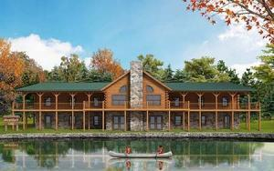 Rendering of waterfront Boy Scout camp, memorial lodge, log lodge, massive lodge, commercial projects, Timberhaven, engineered logs, waterfront lodge