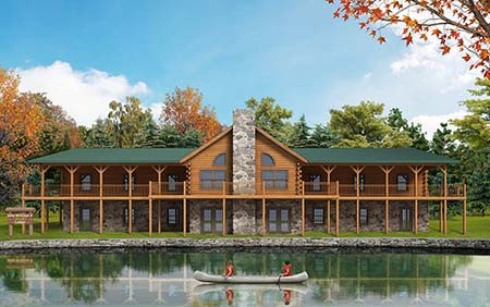 Rendering of waterfront Boy Scout camp, John M. Kriner Memorial Lodge, log lodge, Spring Mills PA, commercial projects, Timberhaven, engineered logs, waterfront property
