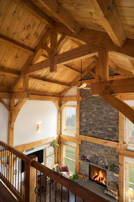 Timber frame ceiling and hammer truss