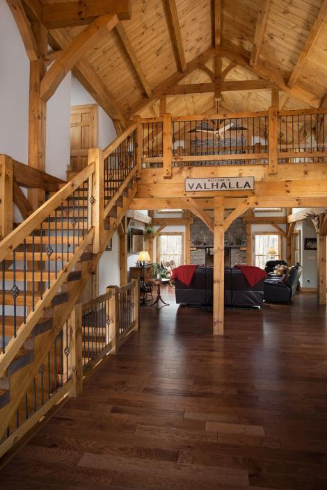 Timber frame home entryway