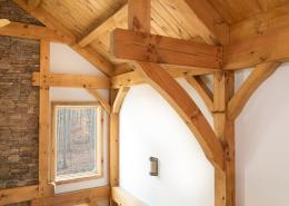 Angle braces in timber frame home