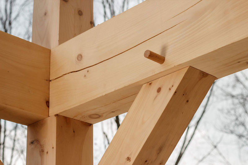 Timber frame connection with peg