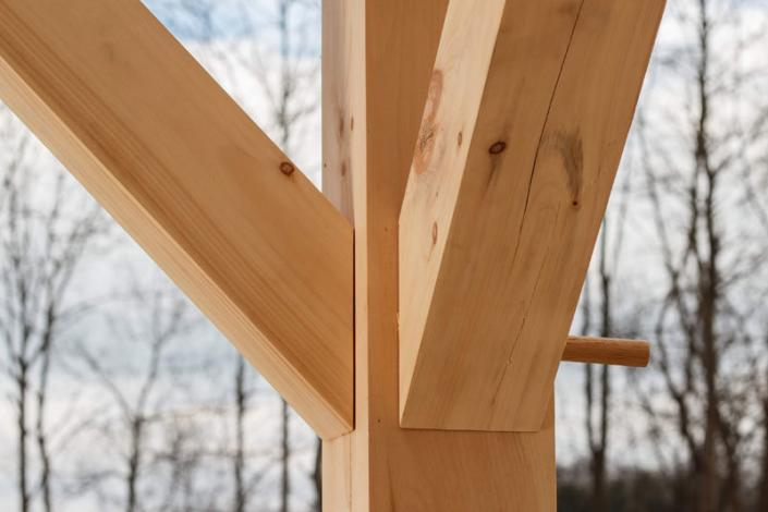 Precision joinery in timber frame home