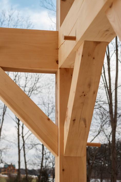 White Pine members of timber frame home