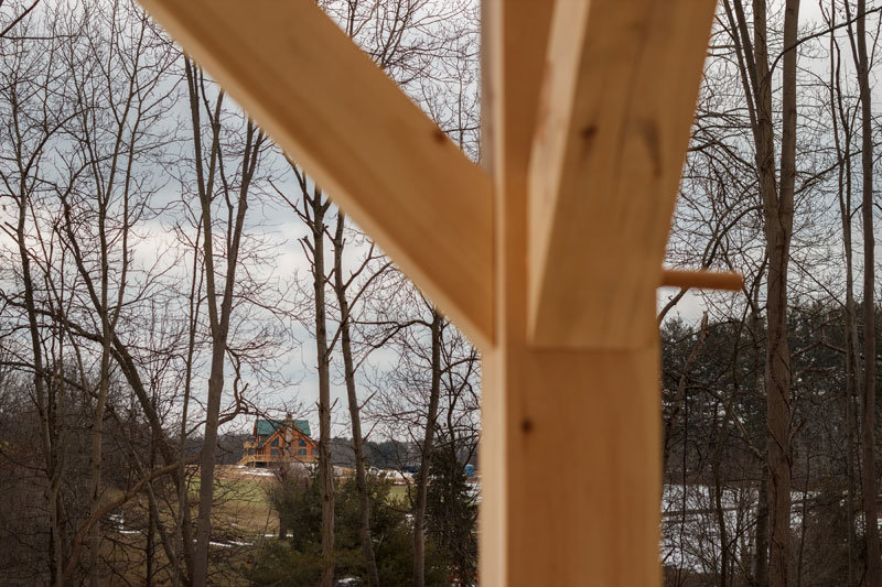 Joinery of timber frame home angle braces