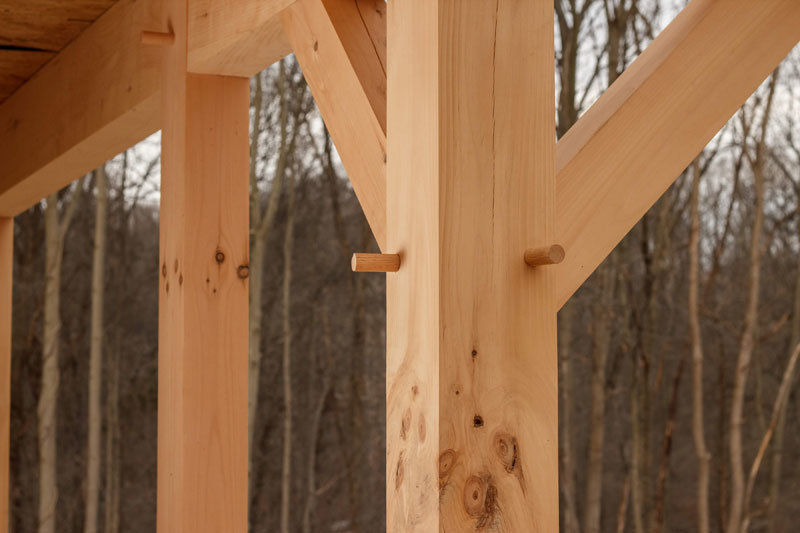Posts and pegs of timber frame construction