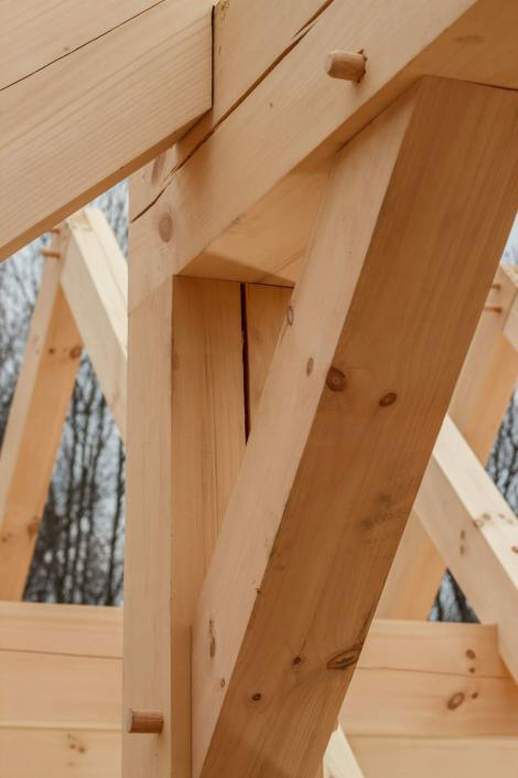 Timber frame angle brace closeup