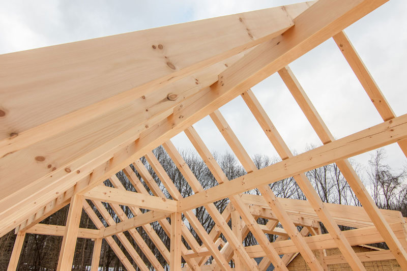 Timber frame roof under construction