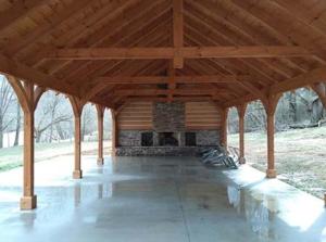 outdoor living area, Timber Frame Pavilion Cathedral Ceiling, outdoor timber structure, timber structure, outdoor wooden structures, timber frame pavilion