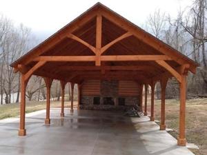 outdoor living area, Timber Frame Pavilion Gable End, outdoor timber structure, timber structure, outdoor wooden structures, timber frame pavilion